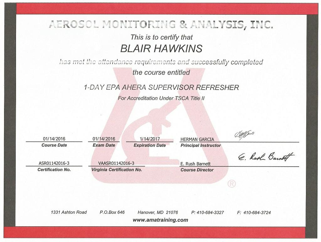 Blairs magazine asbestos 40 hour supervisor course july 16 2010 annual refresher course 2011 2012 2013 2014 2015 2016 2017 xflitez Choice Image